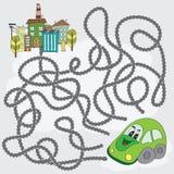 滑稽的迷宫比赛-帮助汽车发现道路通往城市 库存照片