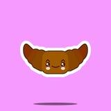 滑稽的逗人喜爱的新月形面包kawaii画与微笑,眼睛 免版税库存图片