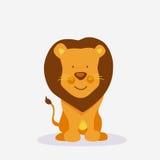 滑稽的逗人喜爱的狮子动画片 免版税库存照片