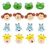 滑稽的逗人喜爱的笑话情感青蛙,猴子,犀牛,长颈鹿 免版税库存照片