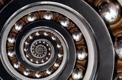 滑稽的难以置信的不切实际的工业滚珠轴承螺旋摘要样式背景 螺旋机械摘要分数维样式 库存图片