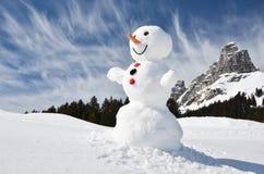 滑稽的雪人 库存照片