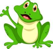 滑稽的青蛙挥动的动画片 免版税库存照片