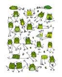 滑稽的青蛙收藏,您的设计的剪影 向量例证