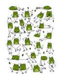 滑稽的青蛙收藏,您的设计的剪影 皇族释放例证