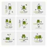 滑稽的青蛙收藏,您的设计的剪影 库存例证