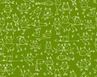 滑稽的青蛙样式,您的设计的剪影 库存例证