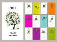 滑稽的青蛙,日历2017设计 库存例证
