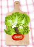 滑稽的面孔构成由菜做成。 库存图片