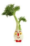 滑稽的面孔由茴香、胡椒和桔子制成 创造性的食物co 免版税库存照片