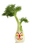滑稽的面孔由茴香、胡椒和桔子制成 创造性的食物co 图库摄影