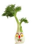 滑稽的面孔由茴香、胡椒和桔子制成 创造性的食物co 库存照片