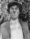 滑稽的面孔(所有人被描述不更长生存,并且庄园不存在 供应商保单将没有式样rele 免版税库存图片