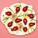 滑稽的食物夫人臭虫开胃菜板材 免版税库存照片