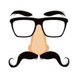 滑稽的髭乔装面具 向量例证