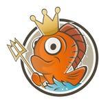 滑稽的鱼国王动画片 免版税库存图片