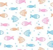 滑稽的鱼概述在白色背景的样式与泡影 向量例证
