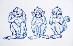 滑稽的3只猴子概念,水彩绘画例证设计 免版税库存照片