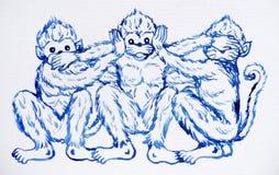 滑稽的3只猴子概念,水彩绘画例证设计 库存图片
