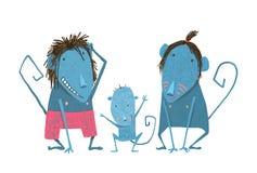 滑稽的猴子家庭手拉的动画片父亲 免版税库存图片