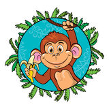滑稽的猴子用一个香蕉在她的手上 作为一部分 免版税库存图片