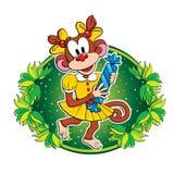 滑稽的猴子用糖果 传染媒介字符 免版税库存照片