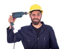 滑稽的年轻工人 免版税库存照片