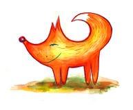 滑稽的水彩狐狸 免版税库存照片