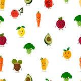 滑稽的水果和蔬菜 无缝的模式 也corel凹道例证向量 逗人喜爱的水果和蔬菜面孔字符 库存图片