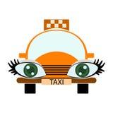 滑稽的绿眼的出租汽车 库存照片