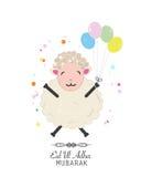 滑稽的绵羊例证 牺牲, Eid AlAdha庆祝贺卡伊斯兰教的节日  免版税图库摄影