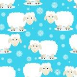 滑稽的绵羊的无缝的样式 免版税库存图片