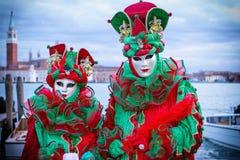 滑稽的carneval面具在威尼斯-威尼斯式服装 免版税库存照片
