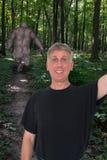 滑稽的Selfie,巨足兽, Sasquatch 库存照片