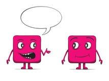 滑稽立方体花花公子谈话。方形的字符。 免版税图库摄影