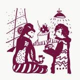 滑稽茶和男人和妇女的剪影 库存照片