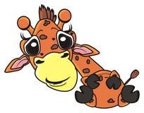 滑稽长颈鹿说谎 库存照片