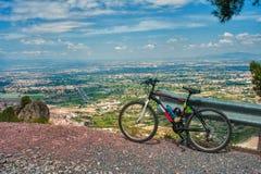 穆尔西亚地区的看法在从小山的西班牙 库存照片