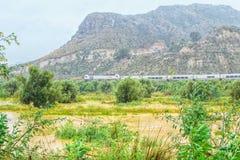 穆尔西亚,西班牙,2019年4月20日:穿过绿色国家风景的现代火车在一有雾的下雨天 免版税库存图片