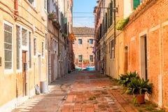 穆拉诺岛狭窄的街道有五颜六色的房子和植物的在清早在威尼斯,意大利 免版税库存照片