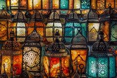 穆斯林样式的灯笼发光 图库摄影