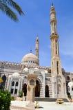 穆斯林汇聚的回教伊斯兰教的清真寺一般祷告的,与高塔的一个礼拜仪式的建筑结构,圆顶 免版税图库摄影