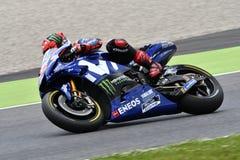 穆杰洛-意大利,6月1日:2018 MotoGP意大利的GP的西班牙雅马哈Movistar队车手持异议者Vinales 2018年6月的 免版税图库摄影