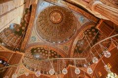 穆罕默德・阿里清真寺天花板在开罗埃及 库存图片