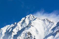 穗高在shinhotaka,日本阿尔卑斯的山风景在冬天 库存图片