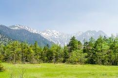 穗高山脉和绿色领域在春天在kamikochi长野日本 免版税库存照片