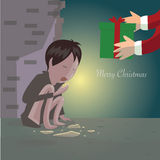 贫穷儿童的圣诞快乐 图库摄影