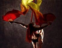 空中丝绸的,优美的曲解,杂技演员美丽的性感的舞蹈家执行在的一个把戏丝带 免版税库存图片