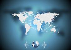 空中交通与世界地图的传染媒介背景 免版税图库摄影