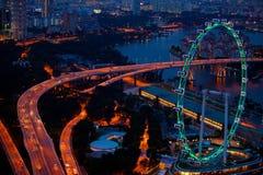 空中传单新加坡视图 免版税库存图片